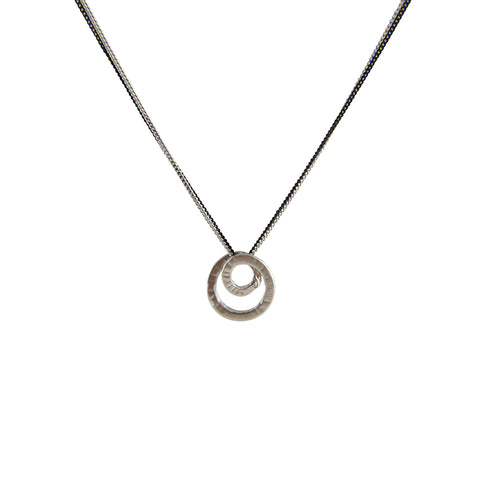 Mini Duo Circle Sliver & Black Short Necklace