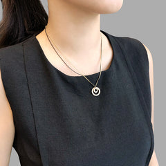 Mini Duo Circle Gold & Black Short Necklace
