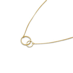 Duo Cutout Circle Gold Short Necklace