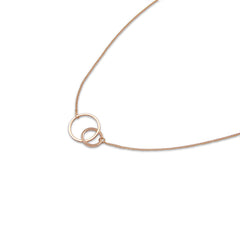 Duo Cutout Circle Rose Gold Short Necklace