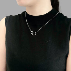 Duo Cutout Circle Sliver Short Necklace