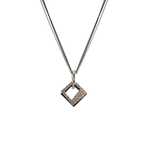 Duo Trapezoidal Sliver & Black Short Necklace