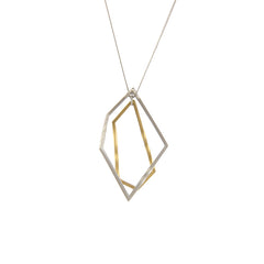 Irregular Cutout Shape Gold & Sliver Long Necklace