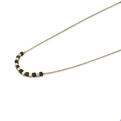 Gold & Black Cube Short Necklace