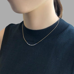 Gold & Blue Cube Short Necklace