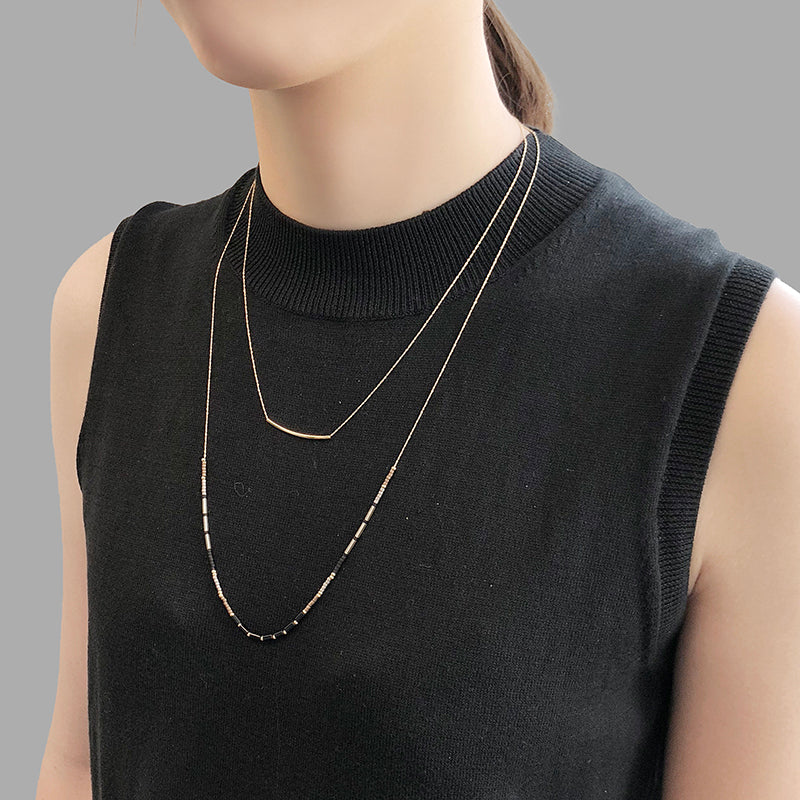 Curved Bar With Gold & Black Bead Long Necklace