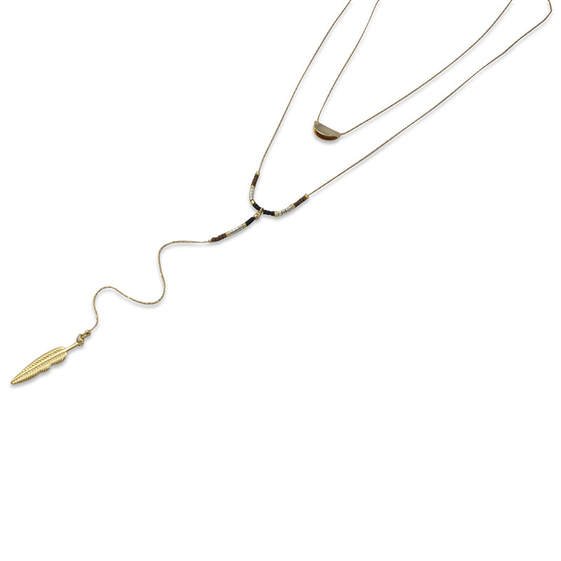 Half Moon & Leaf With Gold & Black Bead Long Necklace