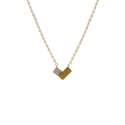 Double Mini rectangle Sterling Gold Silver Necklace