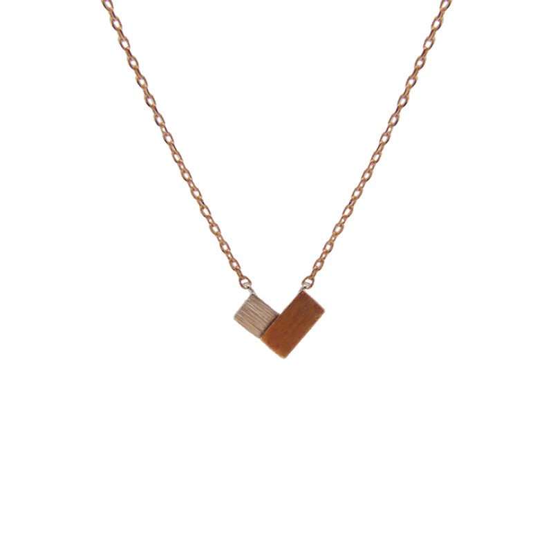 Double Mini rectangle Sterling Rose Gold Silver Necklace