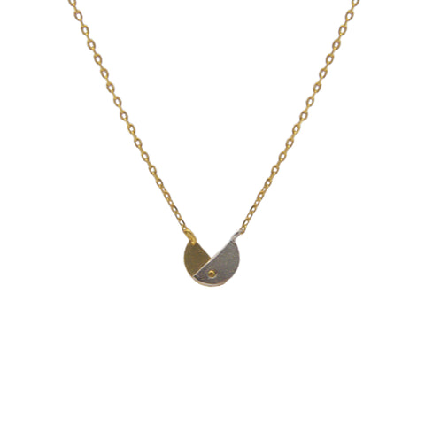 Double circle Sterling Gold Silver Necklace