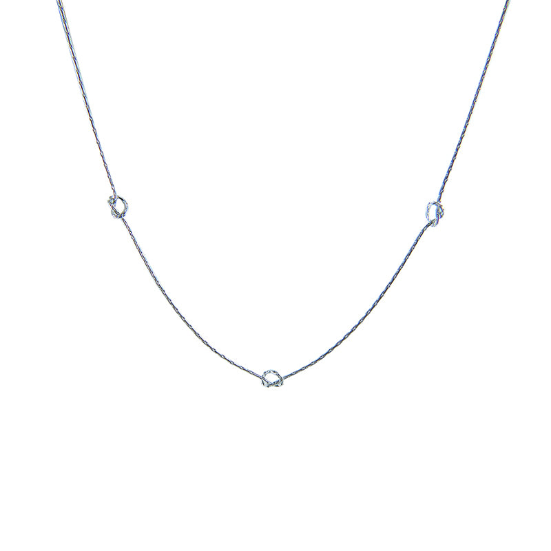 Triple knots Silver Short Necklace
