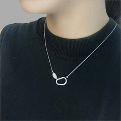 3D Lock with Pearl Silver Short Necklace