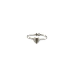 Folded heart Silver Ring