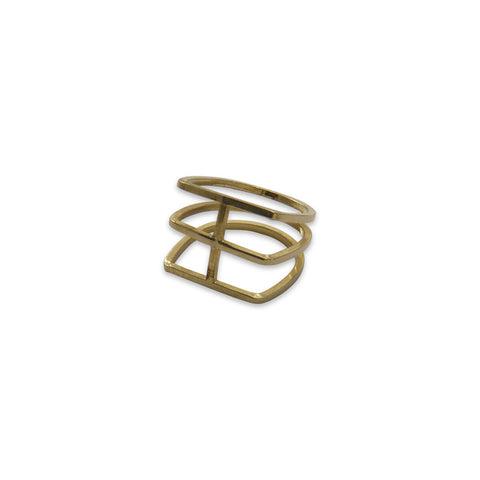 Thick three layers Gold Ring
