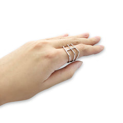 Thick three layers Silver Ring