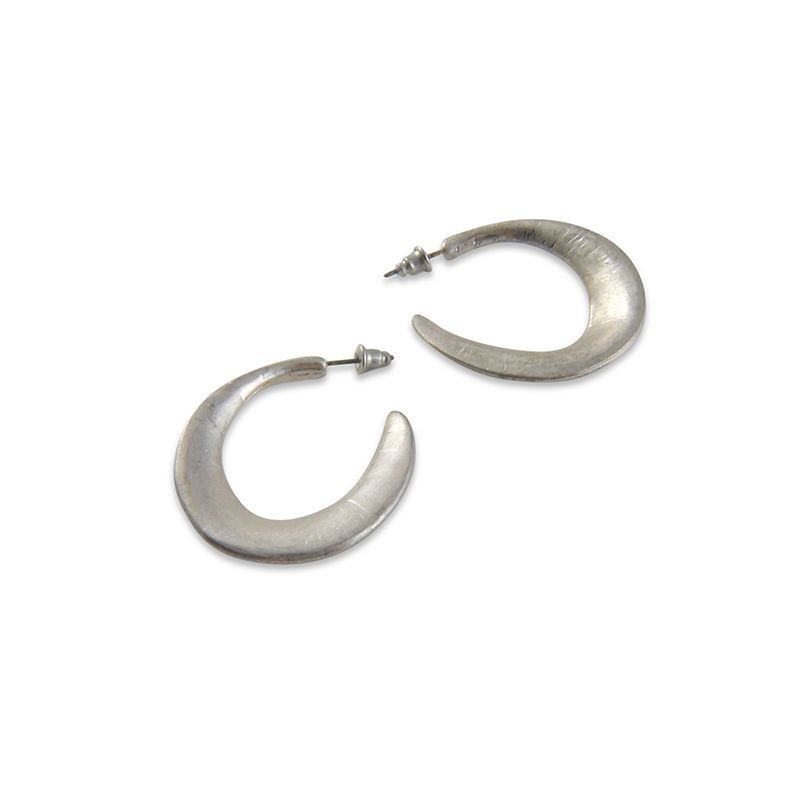Matt semi circle Silver Pierced Earrings