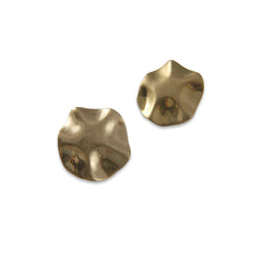 Matt Button Gold Pierced Earrings