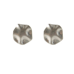 Matt Button Silver Pierced Earrings