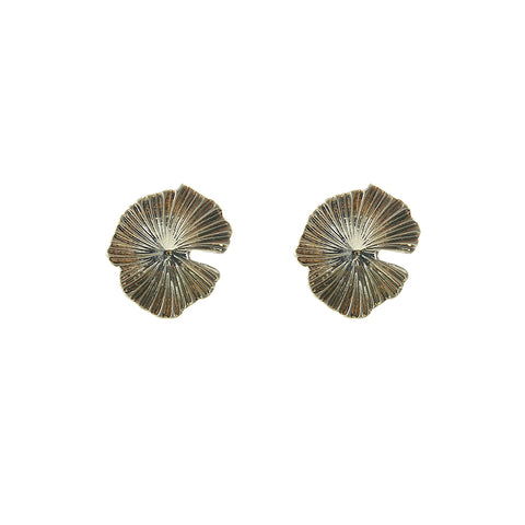 Lotus leaves Gold ear Clip Earrings