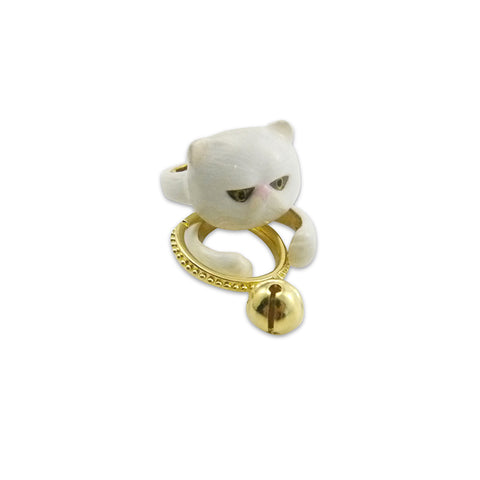 Cat with Bell 3 Pieces White Set Ring