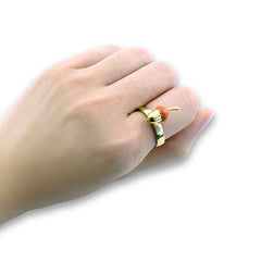 Hazelnut Light Brown & Gold Ring