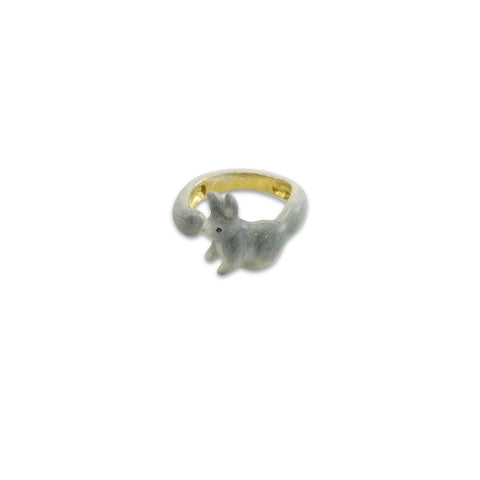 Rabbit Wrap Around Grey Ring (small)