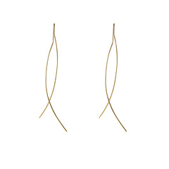 Due linear line curved bar chain 10K real Gold Earrings