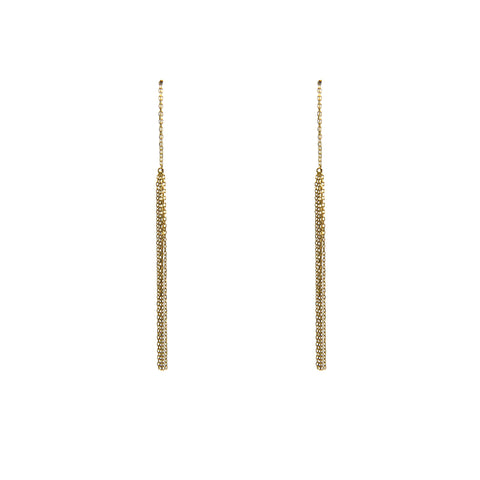 Trio of chain 10K real Gold pull thru Earrings