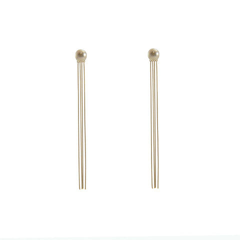 Akyua Pearl with Quartet line slim line 10K real gold earrings