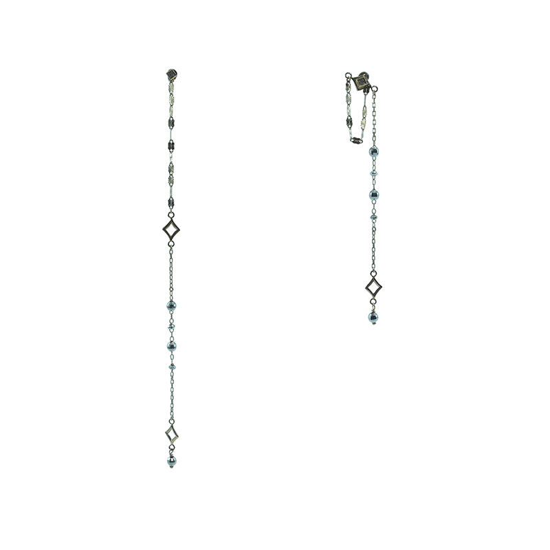 Diamond 0.01ct white gold mirror ball and gold beads E clarir cable 10K real gold earrings