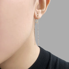 Diamond 0.01ct xoxo chain cable with cut ball chain and star 10K real gold earrings