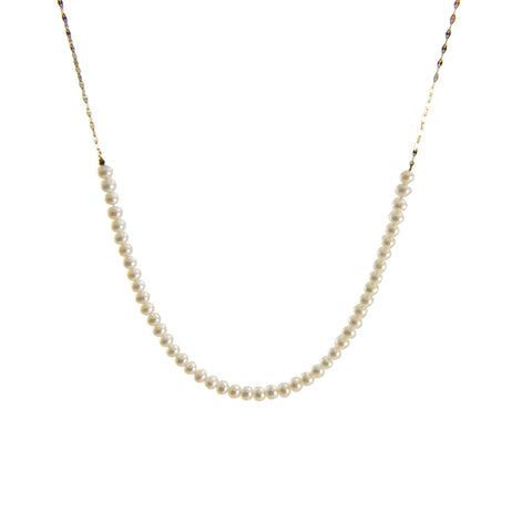 Link of Fresh Water Pearl 10K Real Gold Eye Chain Medium Necklace