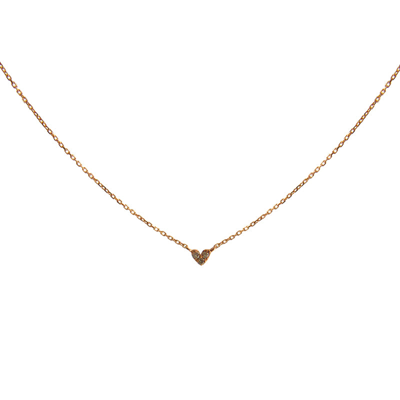 Mini Heart 0.01kt Diamond 10k Real Rose Gold Short Necklace