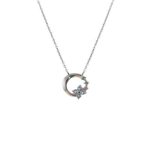 Moon Circle with white Topaz Flower Diamond (0.02ct) 10K Real Rose Gold Necklace