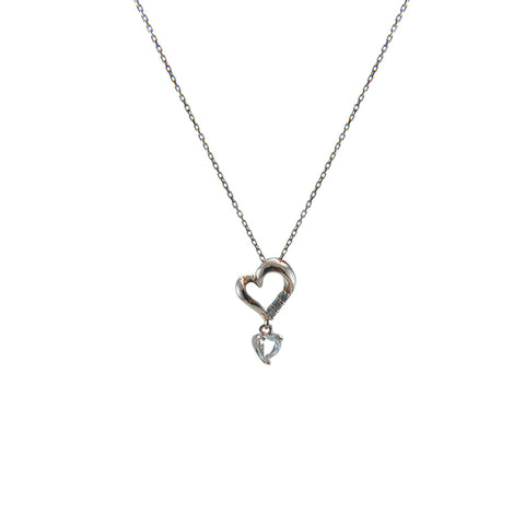 Heart with white Topaz Flower Diamond (0.01ct) 10K Real Rose Gold Necklace