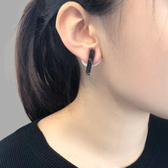 Circle Shape With Wings & Black Marble Stone Sliver Studs