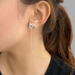 Camellia Silver and Gold Sterling Silver Pull-Thru Earrings