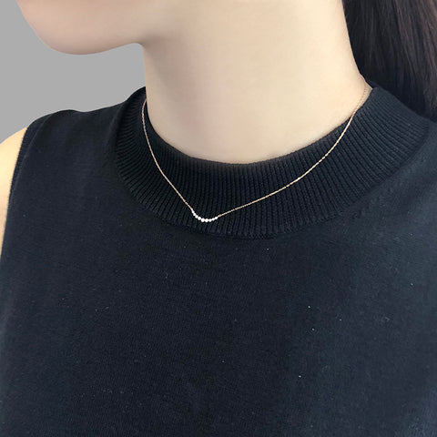 0.1K Diamond With 18k Gold Necklace