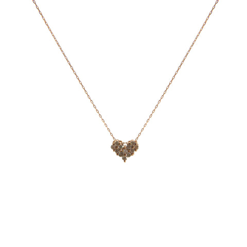 0.2Kt Diamond Heart and Bar 18k Real Rose Gold Necklace