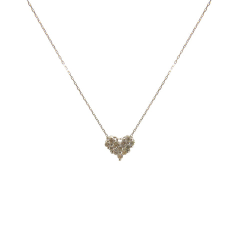 0.2Kt Diamond Heart and Bar 18k Real White Gold Necklace