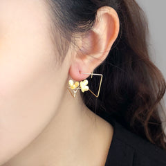3D Cube Trillium Duo Gold Sterling Silver Earrings