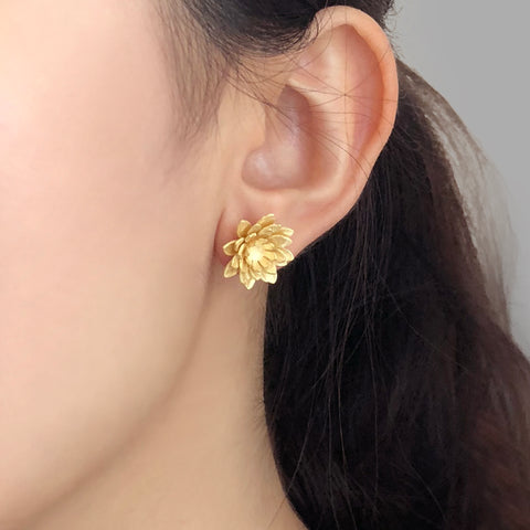 Lotus Flower Gold Sterling Silver Studs