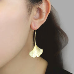 Big Ginkgo Gold Leaf Sliver Drop Earrings