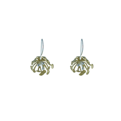 Big Flower Gold Sterling Silver drop Earrings