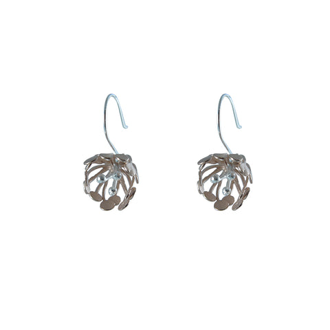 Big Flower Rose Gold Sterling Silver drop Earrings