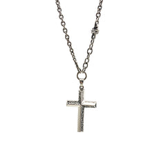 Big Christian with Cutout Pattern Sterling Silver Necklace