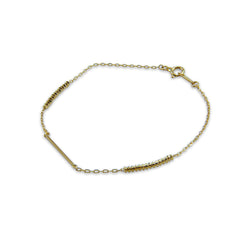 18K Real Gold bar & bead Bracelet