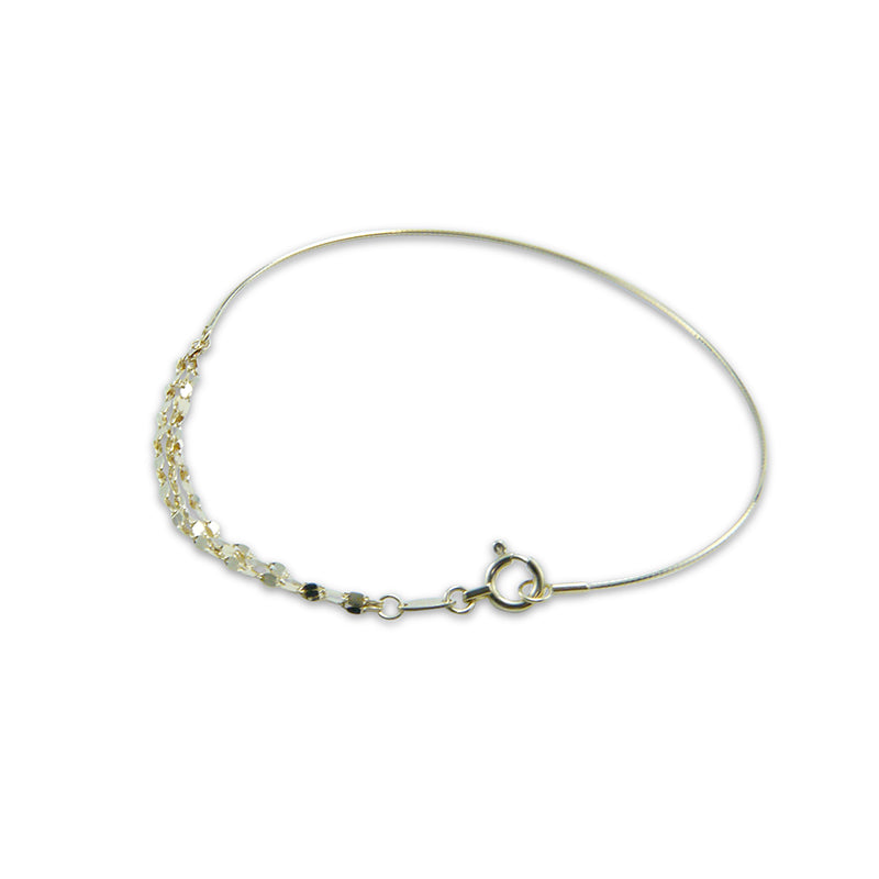 18K Real Gold Triple Chain & Wire Bangle