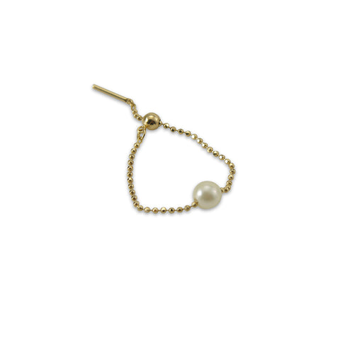 18k Real Gold With Pearl Pull Thru Earring and Ring (one piece)