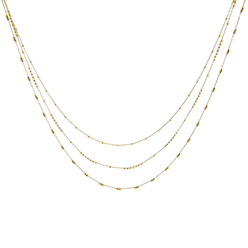 18k Real Gold Trio Chain Short Necklace